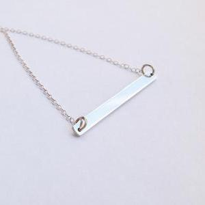 Silver bar necklace, sterling silve..