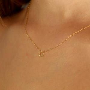 gold necklace, gold circle necklace..