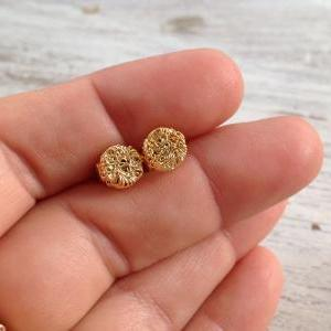 Gold Earrings Stud Wire
