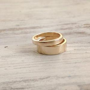 Gold ring, stacking rings, wide ban..