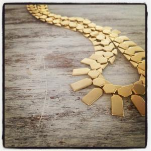 Gold necklace, statement necklace, ..