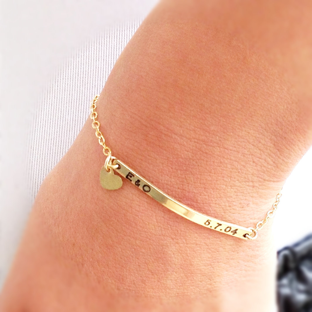 bar simple edited engraved personalized id hoardjewelry solid yellow gold products name bracelet