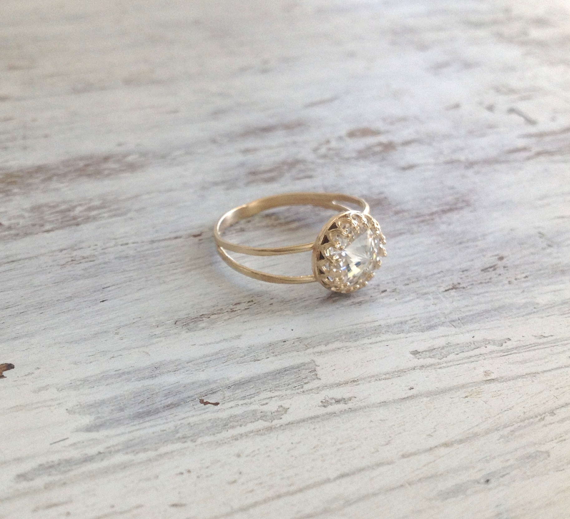 center shaped rings white octagon vintage engagement gold unique round halo stone ring product diamond