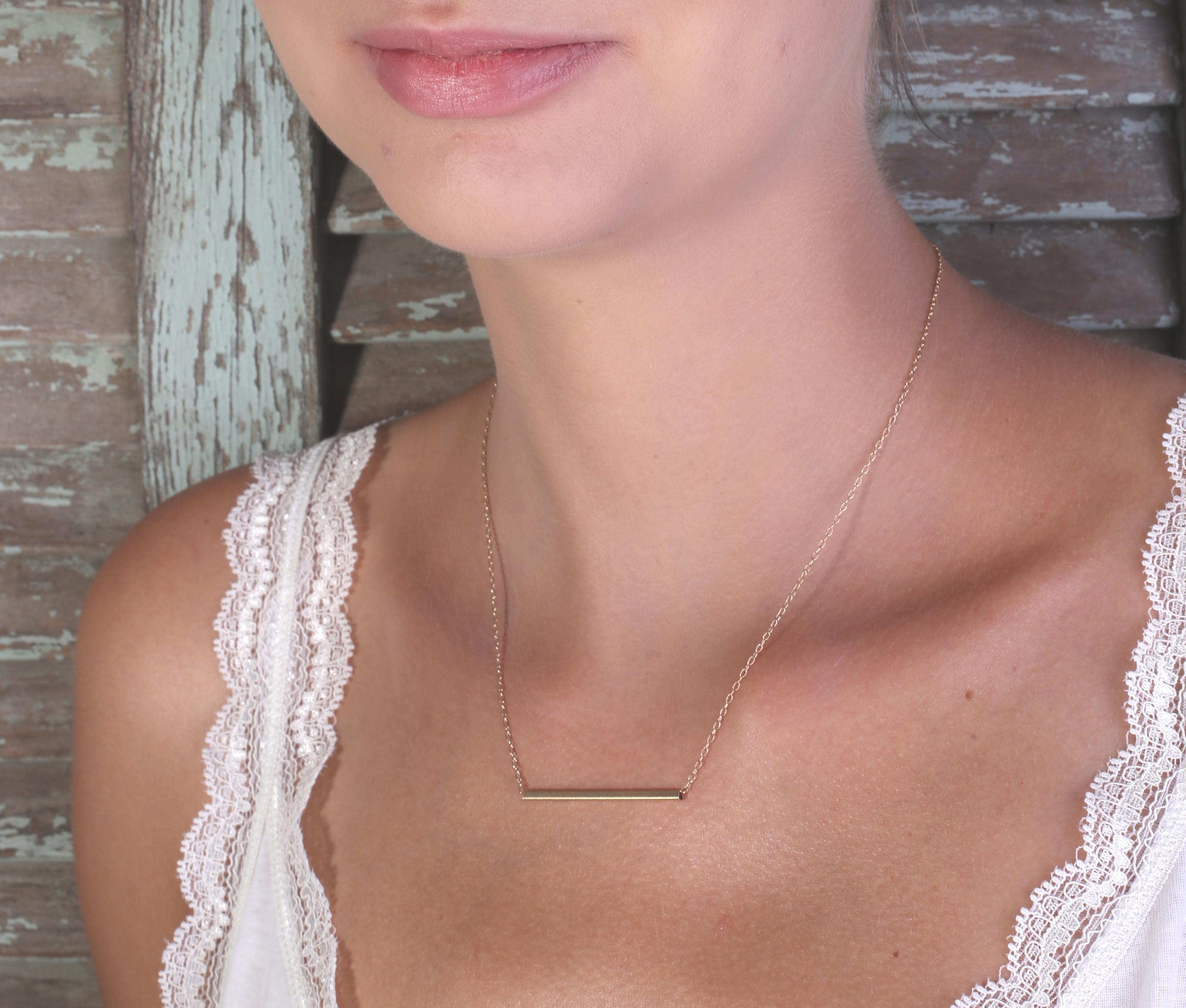 bar necklace white si i h diamond pendant gold mini in linear